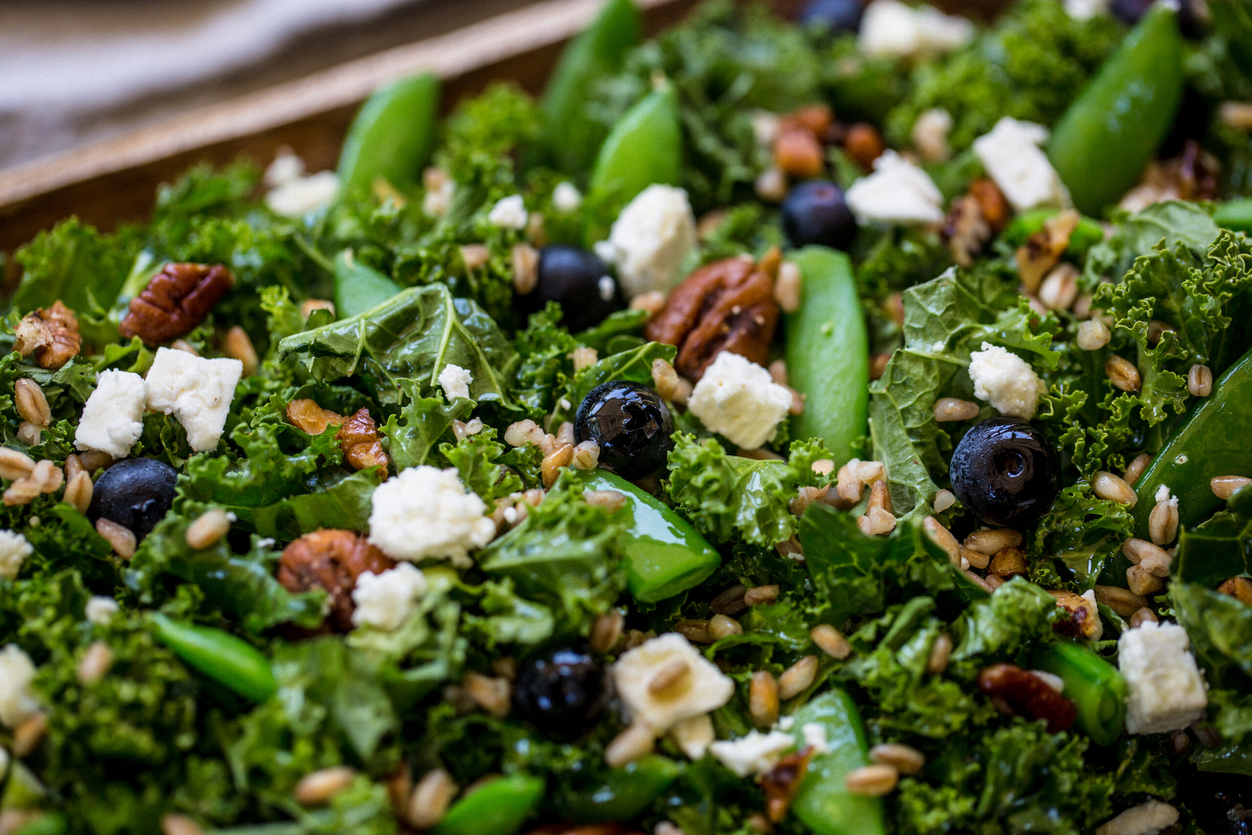 blueberry, kale, salad, farro