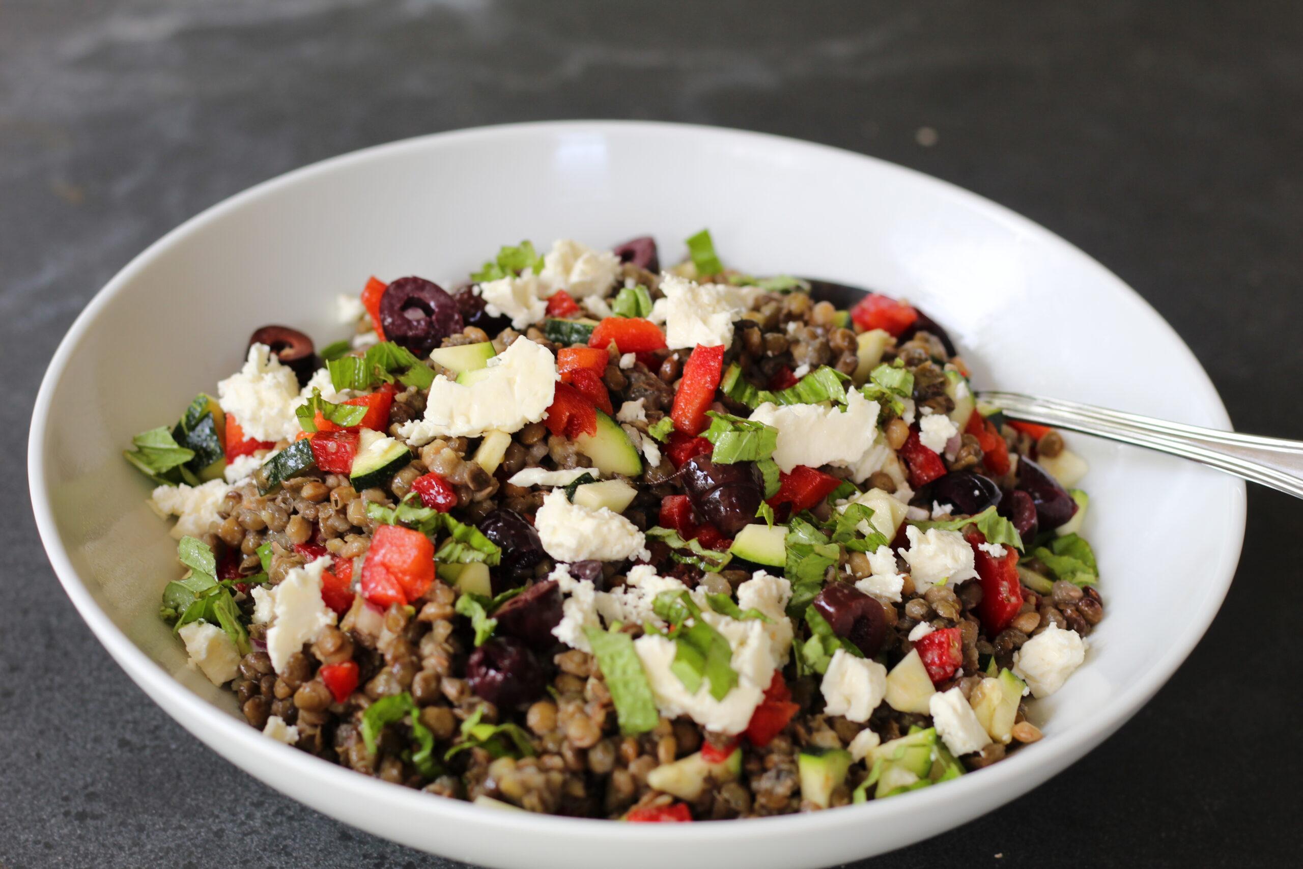 lentils, salad, greek