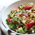 Chopped Strawberry Farro Salad with Honey Balsamic Vinaigrette