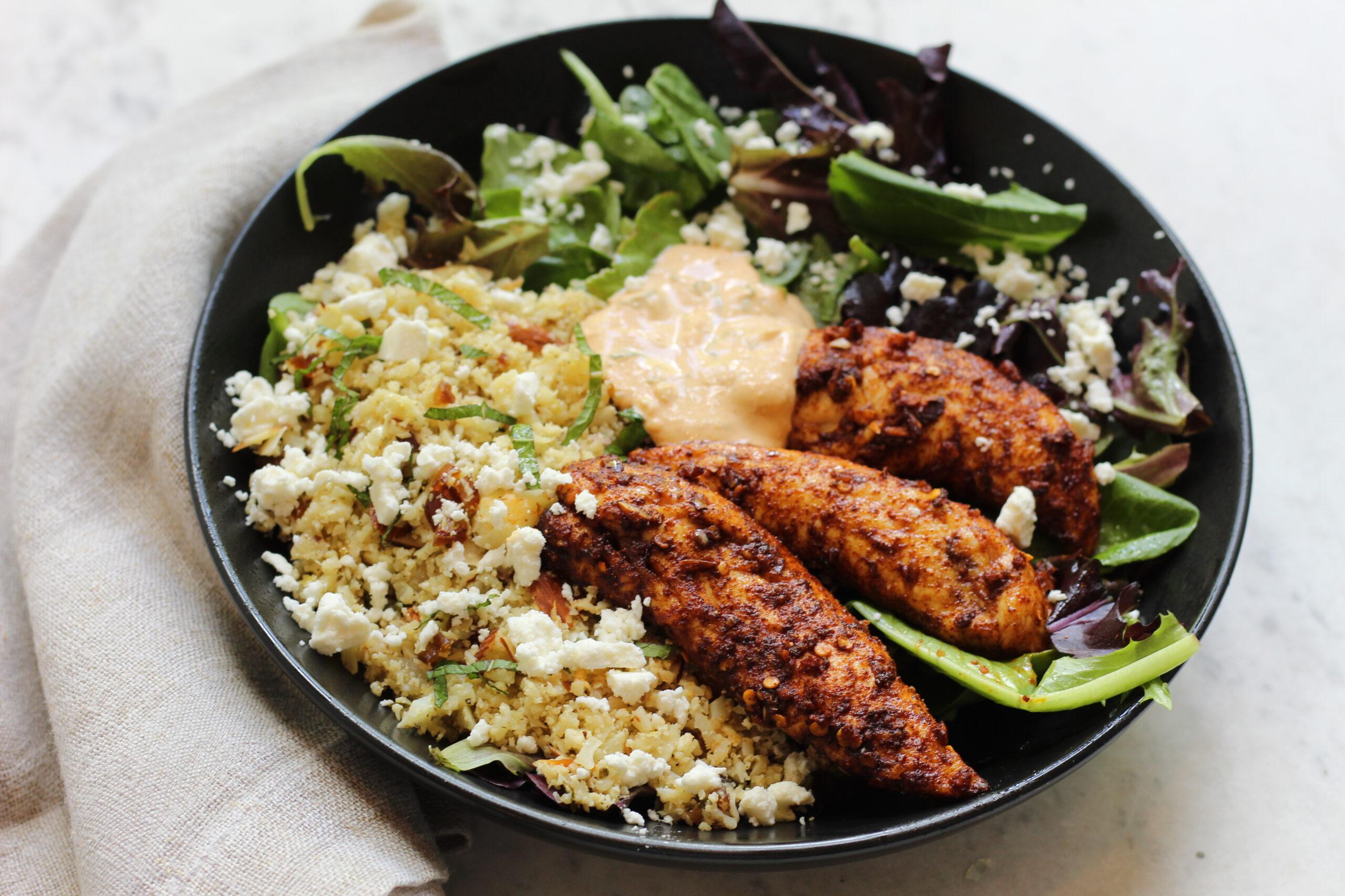 Moroccan Chicken Cauliflower Couscous Bowls