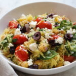 spaghetti squash, salad, greek