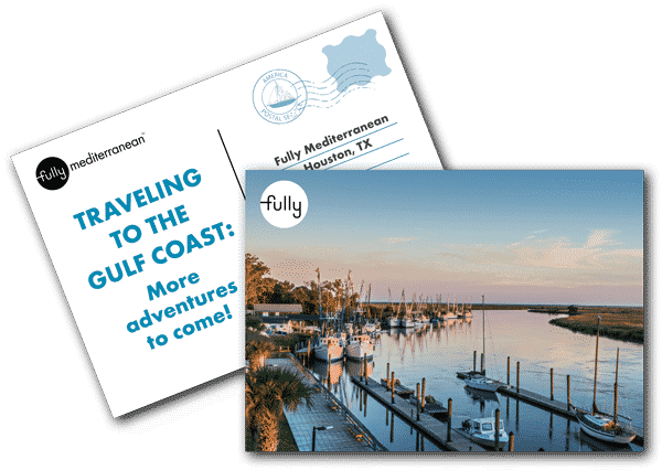 Traveling to the gulf coast cooking class with fully mediterranean postcard