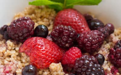 Warm Breakfast Bowl with Mixed Berry Reduction