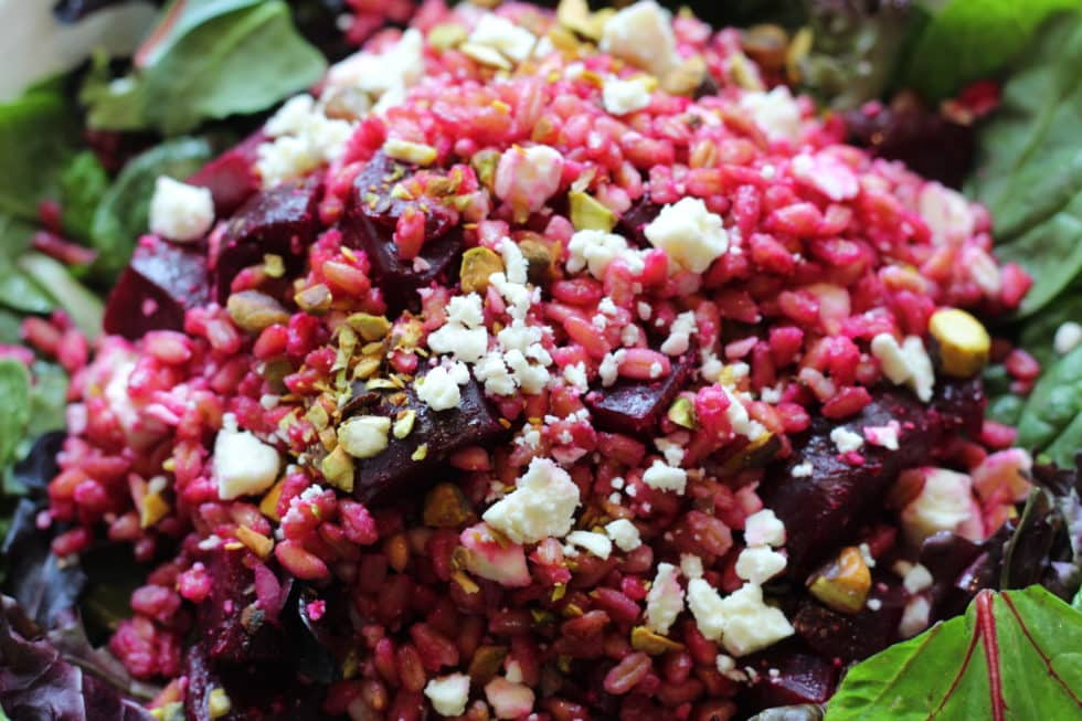 Farro Salad with Roasted Beets and Goat Cheese