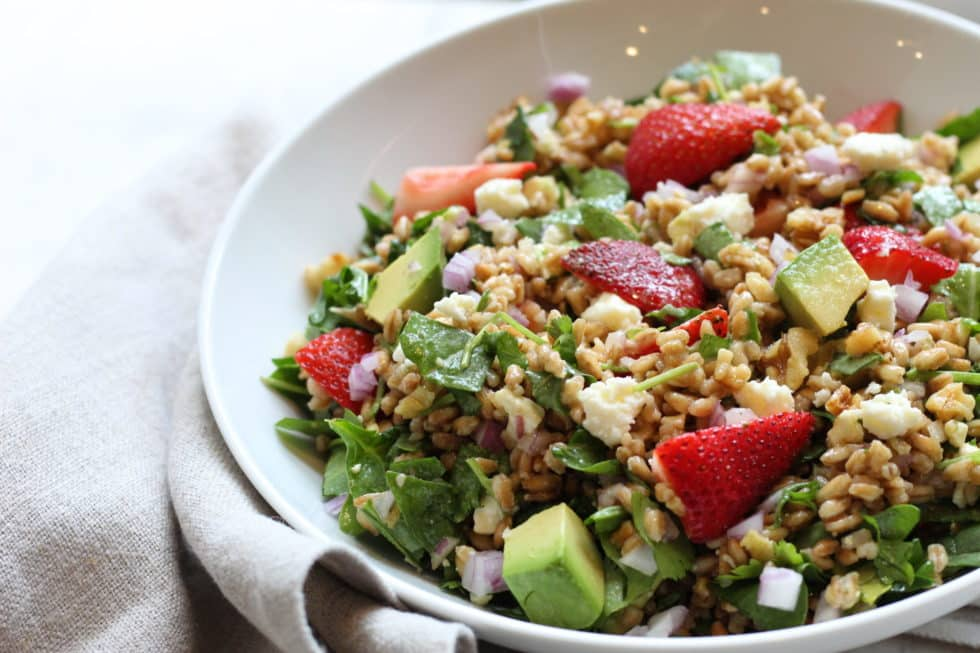 Chopped Strawberry Farro Salad with Honey Balsamic Vinaigrette