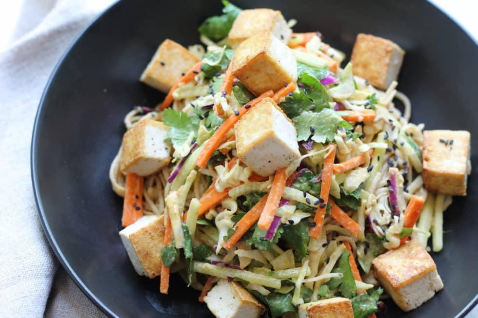 Sesame Noodle Bowls With Seared Tofu