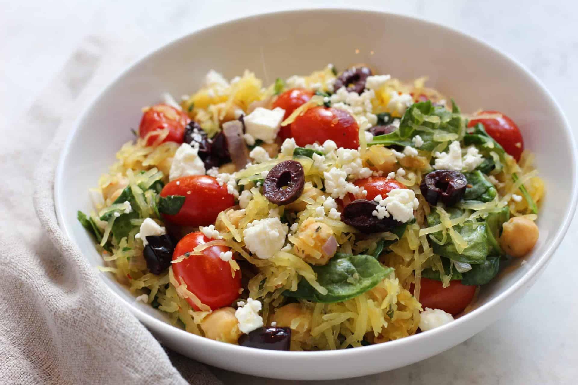 spaghetti squash, salad, greek