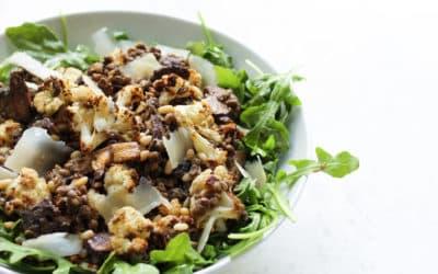 Lentil Salad with Balsamic Mushrooms & Cauliflower