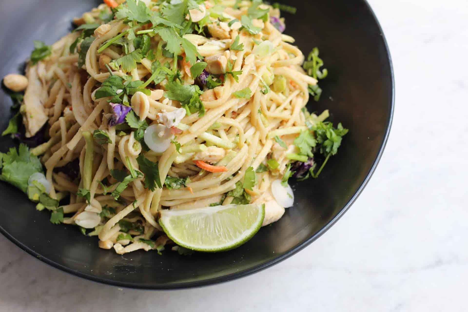Cold Chicken Udon Noodle Salad