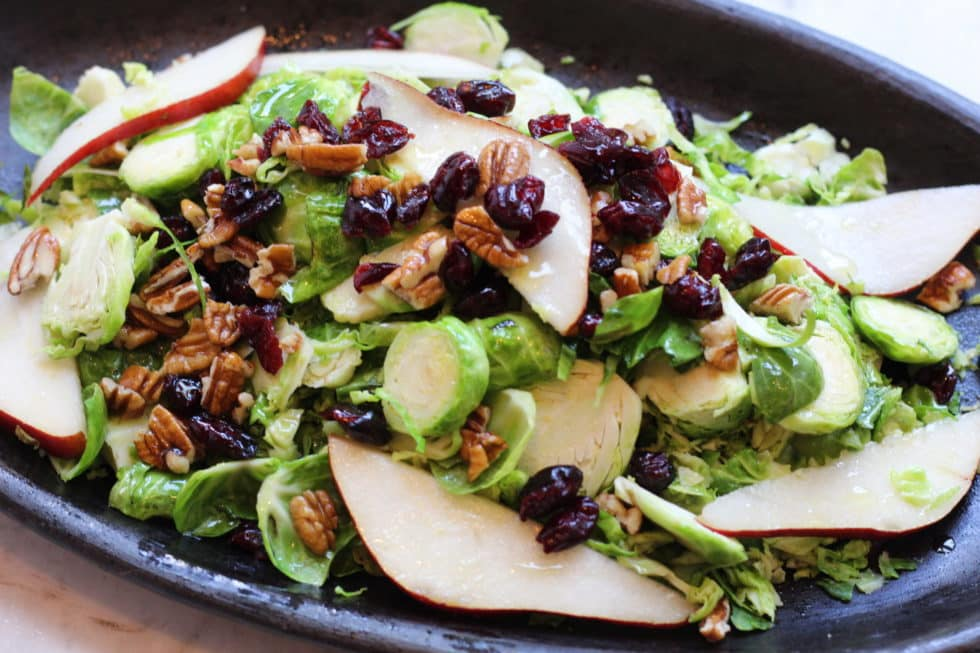 Warm Brussel Sprout and Pear Salad