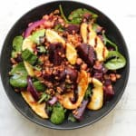 Wilted Spinach Salad with Beets and Halloumi