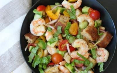 Spicy Shrimp and White Bean Panzanella Salad