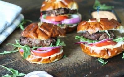 Nourish Blended Burger with Sriracha Mayo