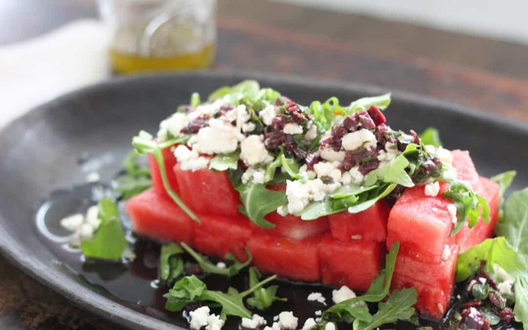 Watermelon and Feta Salad with Kalamata Olive Vinaigrette