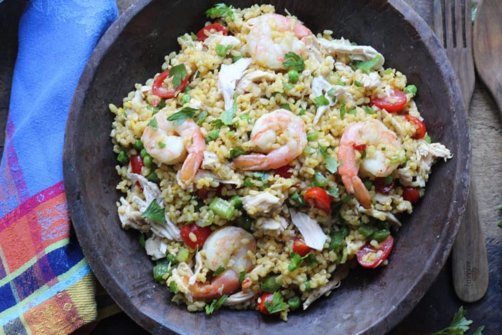 Salads, Chicken, Shrimp, Gluten-Free, Rice, Saffron, Summer