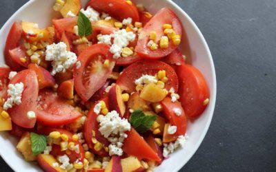 Tomato, Peach, and Corn Salad