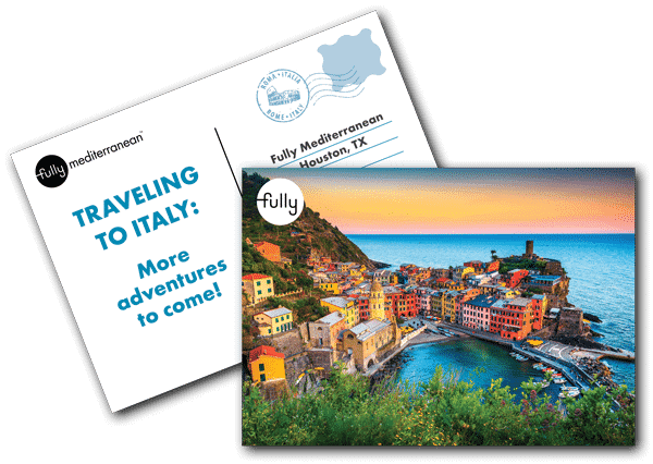 Traveling to italy fully mediterranean postcard for cooking class