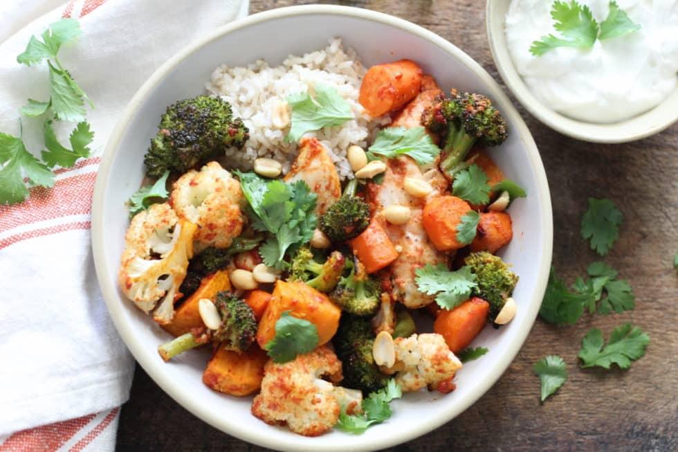 Sheet Pan, Winter, Curry, Chicken, Dinner, Bowls