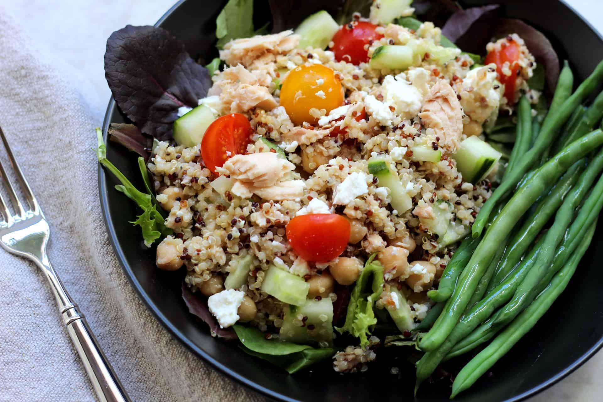 Mediterranean Diet, Greek, Tuna, Fish, Seafood, Quinoa, Whole Grains, Bowls, Quick & Easy, Lunch