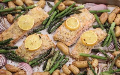 Sheet Pan Panko Crusted Dijon Salmon