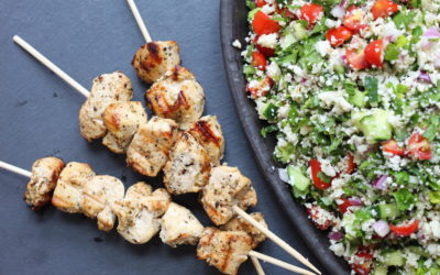 Lemony Chicken Kebabs Over Cauliflower Tabouleh