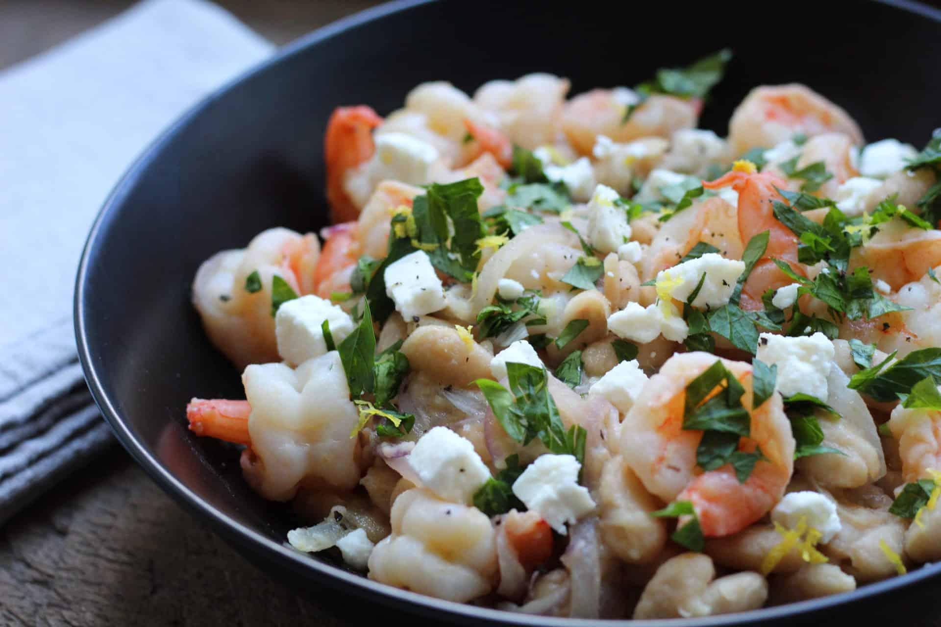one skillet lemony shrimp with white beans and feta
