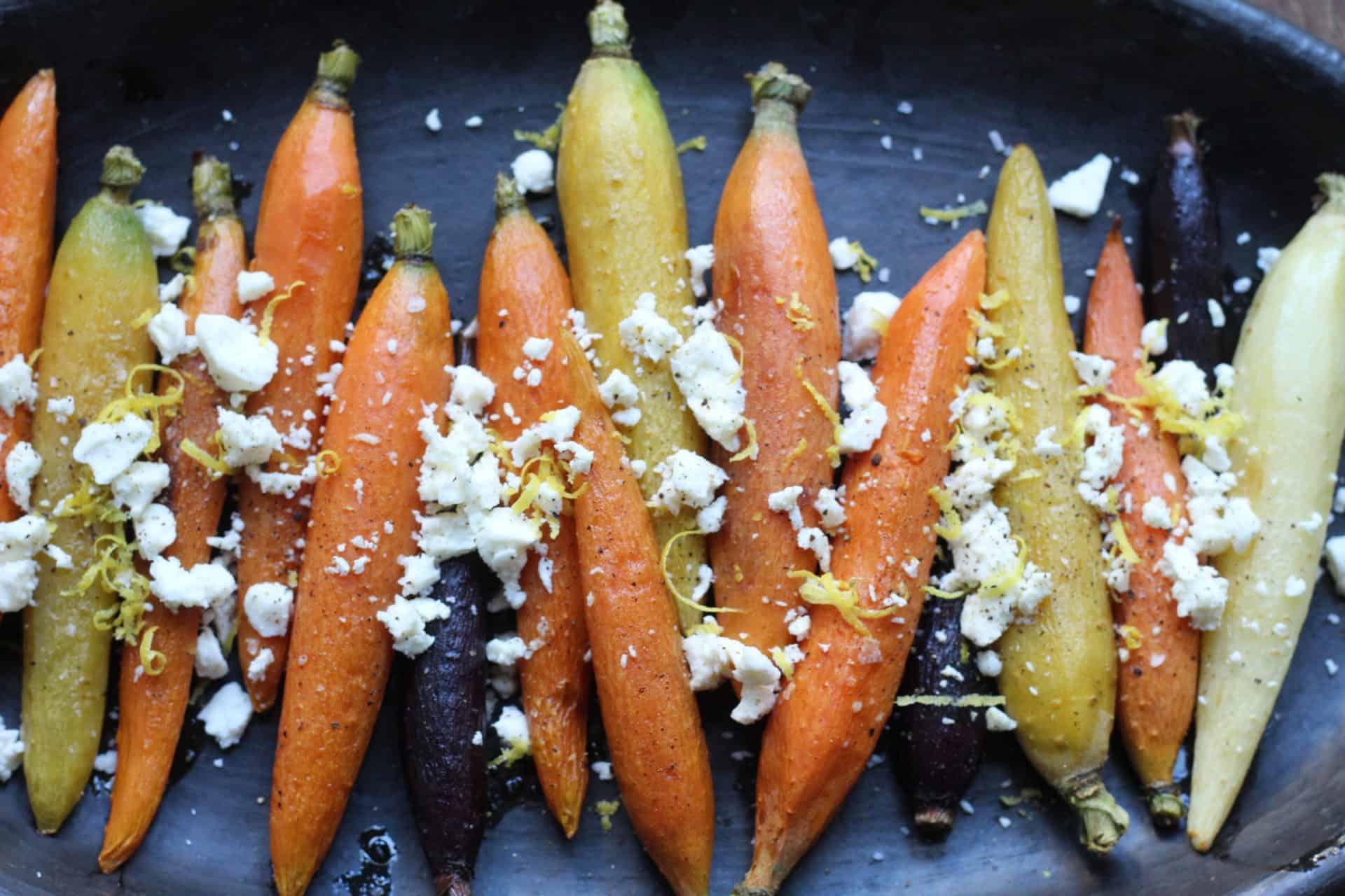 roasted rainbow carrots with feta lemon and truffle oil