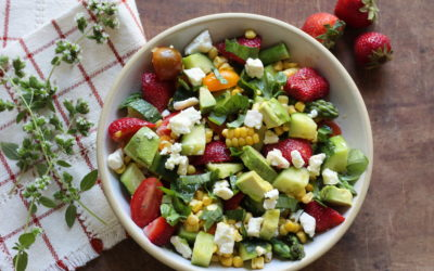 Chopped Summer Salad with Strawberries, Avocado, Corn and Asparagus