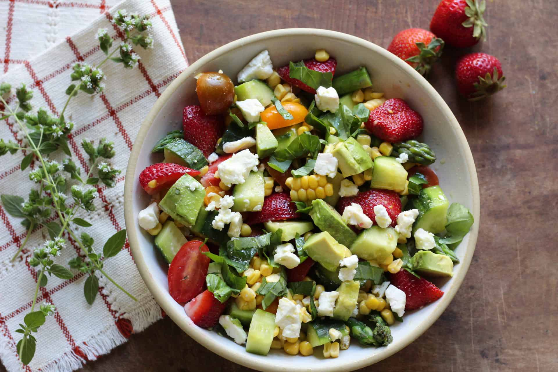 Summer, Salads, Quick & Easy, Dinner, Sides, Corn, Avocado, Strawberries, Vegetarian, Gluten Free