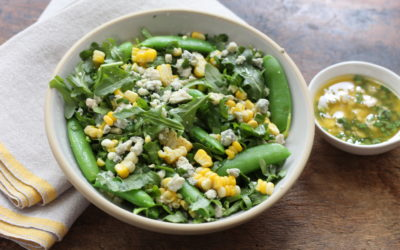 Corn and Snap Pea Salad with Blue Cheese Vinaigrette