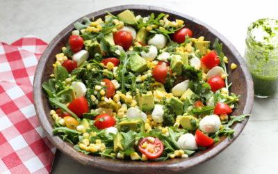 Layered Summer Salad with Avocado, Corn, Tomatoes and Basil Vinaigrette