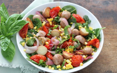 Roasted Tomato, Corn and Potato Salad with Wilted Spinach