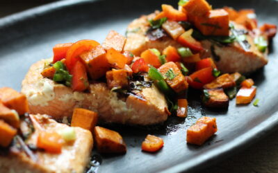 Grilled Salmon with Roasted Sweet Potato Salsa