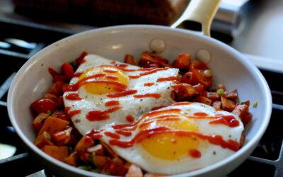 Roasted Sweet Potato Salsa Breakfast Skillet