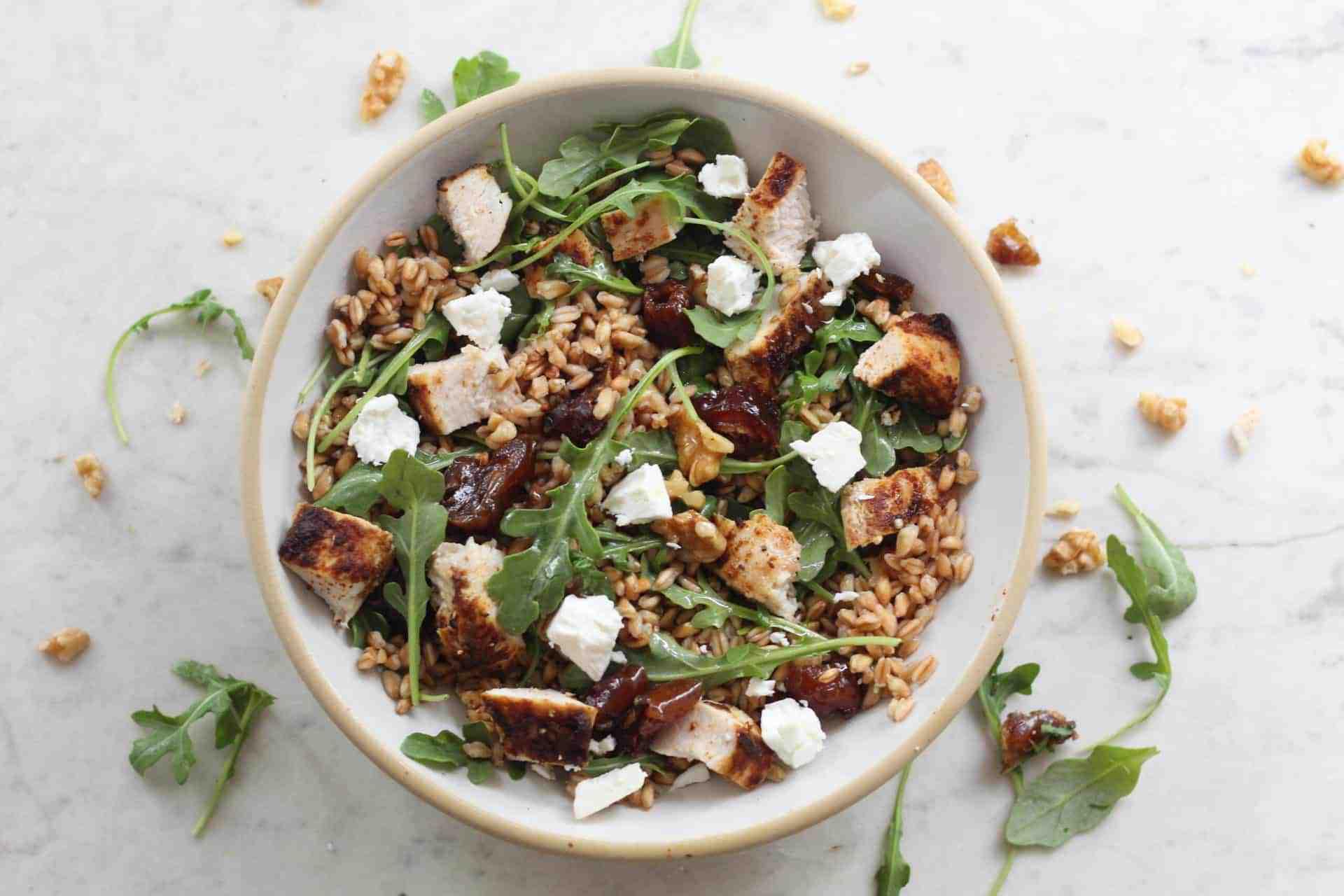 Salads, Lunch, Dinner, Chicken, Farro, Whole Grains, Mediterranean, Mediterranean diet, Quick & Easy