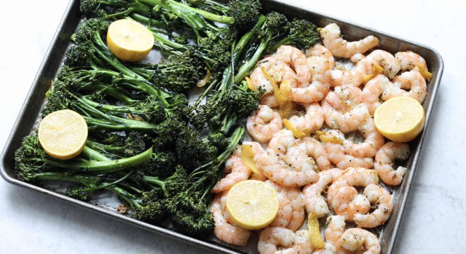 Sheet pan Roasted shrimp and broccolini