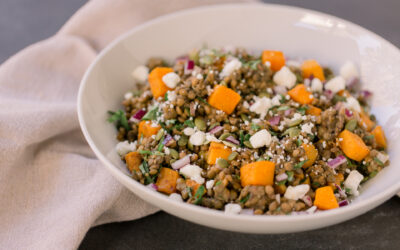 Warm Fall Lentil Salad with Butternut Squash & Goat Cheese