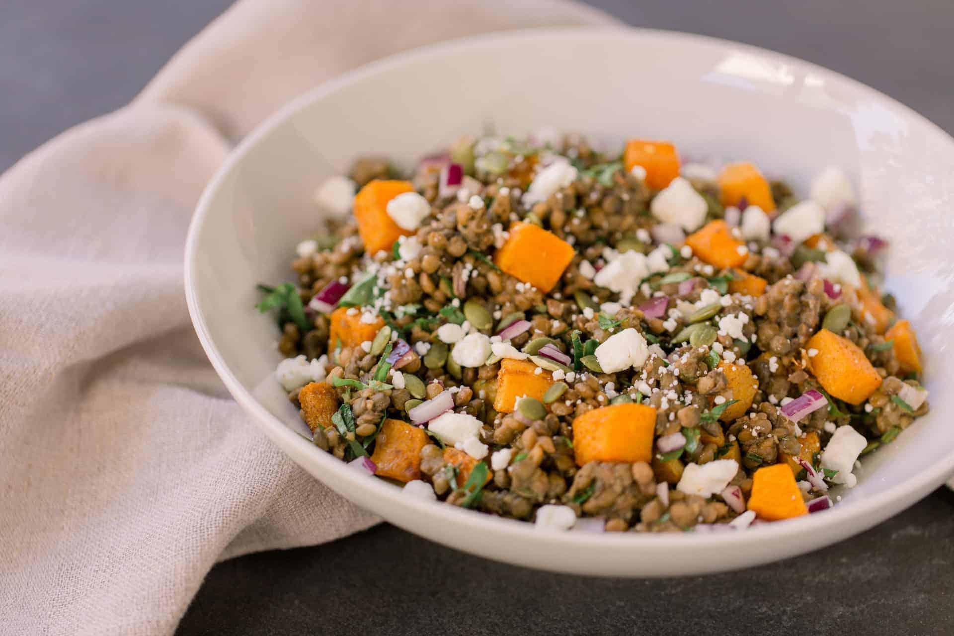 warm fall lentil salad fully mediterranean